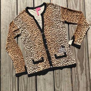 Leopard print embellished cardigan